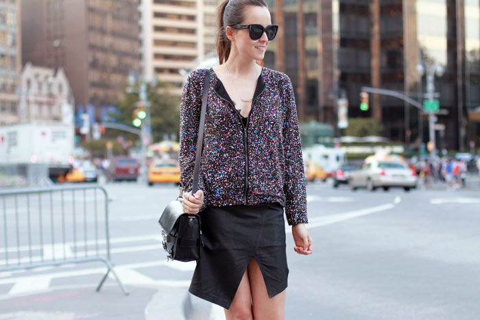 andy torres from stylescrapbook look of the day wearing alexander wang, lace bra, stylin skirt, zara sequin jacket