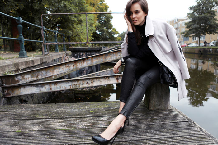 Fashion Blogger Andy Torres from StyleScrapbook wearing J Brand leather pants and Stine Riis for HM coat