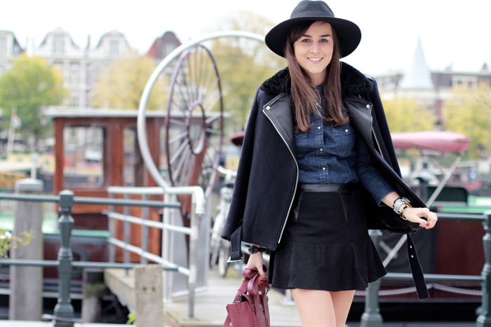 Fashion blogger Andy Torres from StyleScrapbook wearing Lee denim shirt, Sandro jacket, Balenciaga bracelet and Philip Lim bag