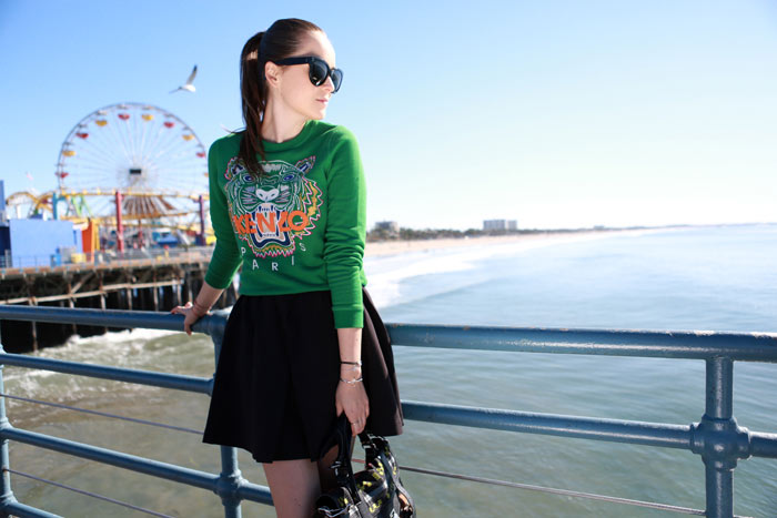 fashion blogger Andy Torres from stylescrapbook wearing green KENZO tiger jumper