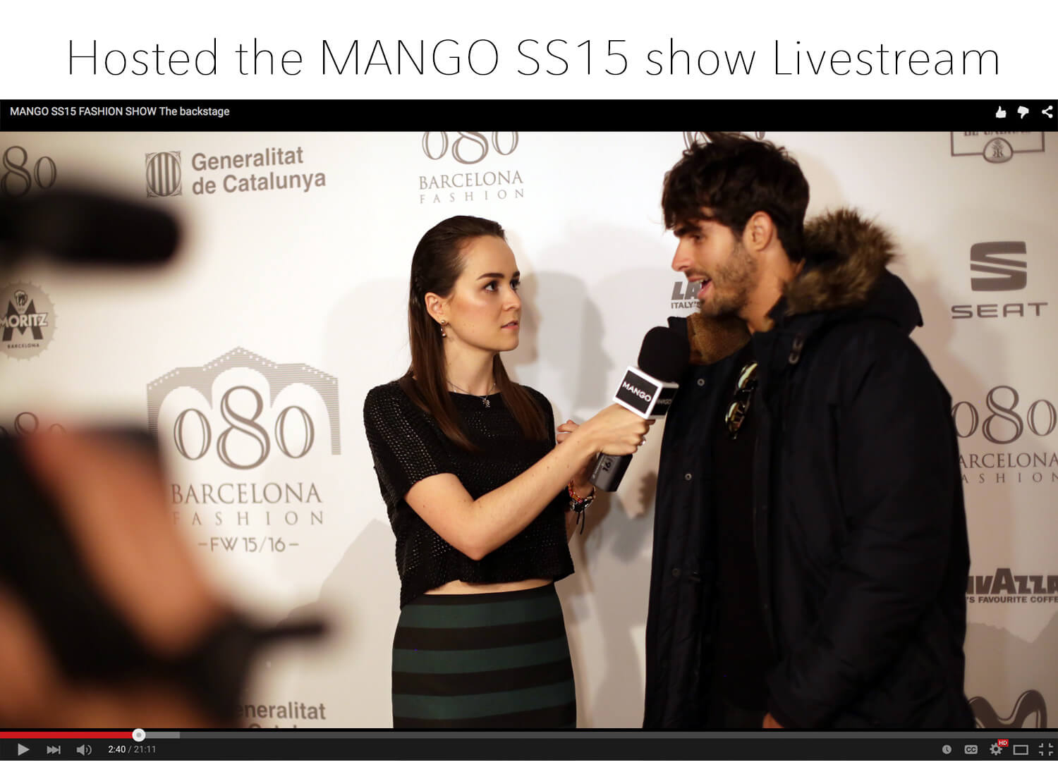 Andy Torres hosted the MANGO SS15 lifestream backstage before the fashion show