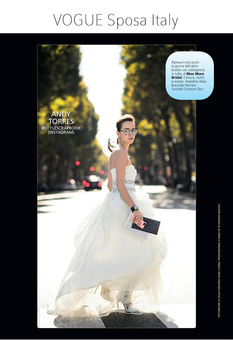 Fashion Blogger Andy Torres featured on an editorial for VOGUE Sposa