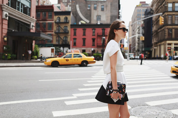 Fashion blogger and IT girl Andy Torres from StyleScrapbook walking in TriBeCa New York City